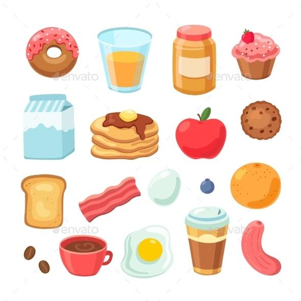 Cartoon Breakfast Food - Food Objects