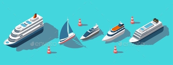 Isometric Ferries Yachts Boats and Passenger Ships - Man-made Objects Objects