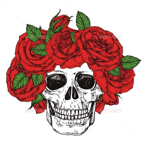 Hand Drawn Skull with Roses Head Wreath Vector - Miscellaneous Vectors