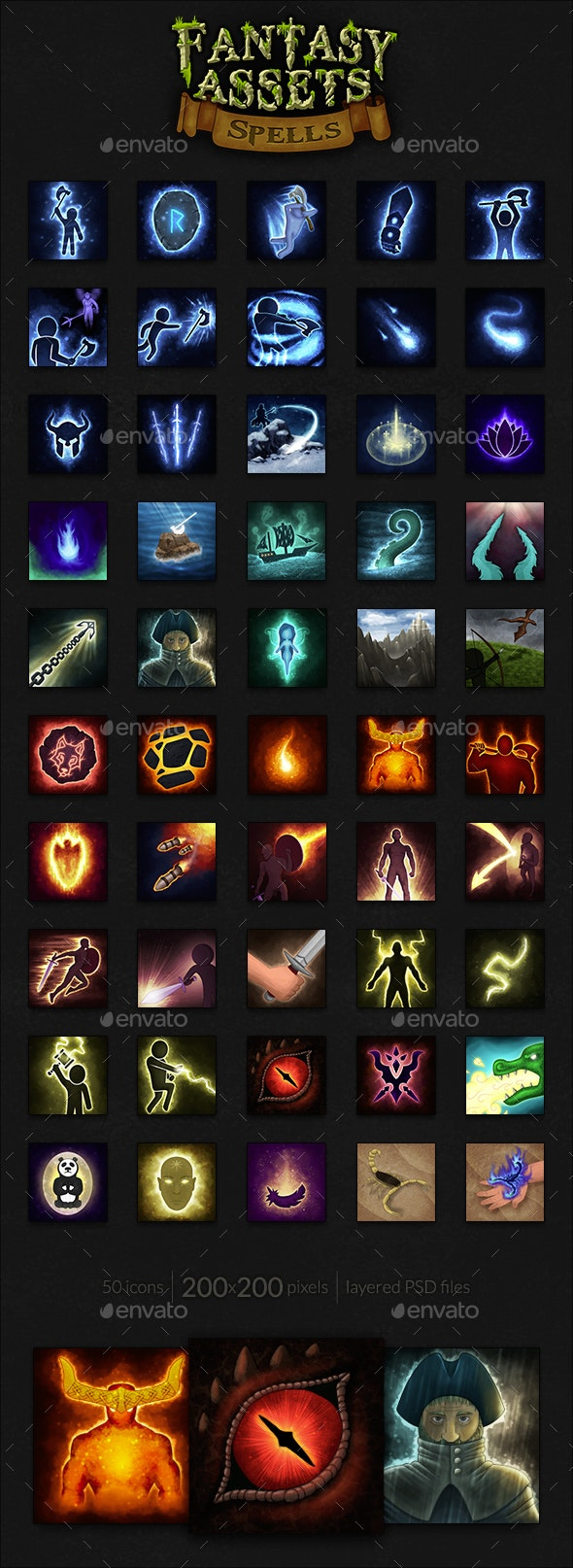 50 Fantasy Spells Icons - Miscellaneous Game Assets