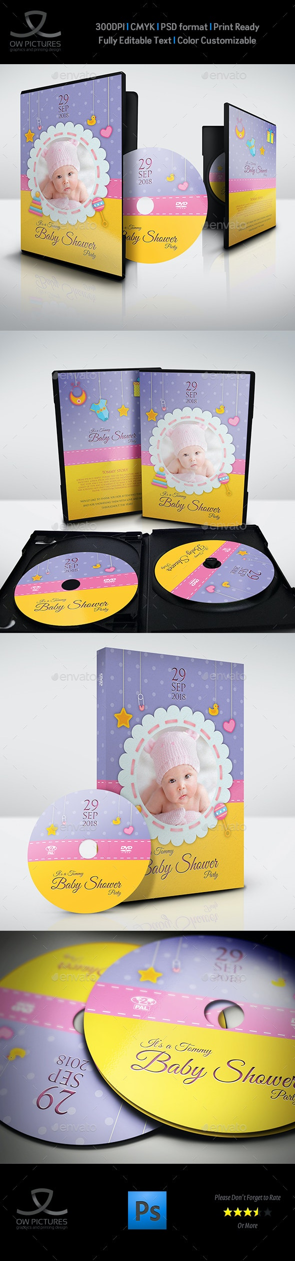 Baby Shower DVD Template Vol.10 - CD & DVD Artwork Print Templates