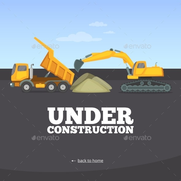 Under Construction Page. Building Truck Yellow - Miscellaneous Vectors