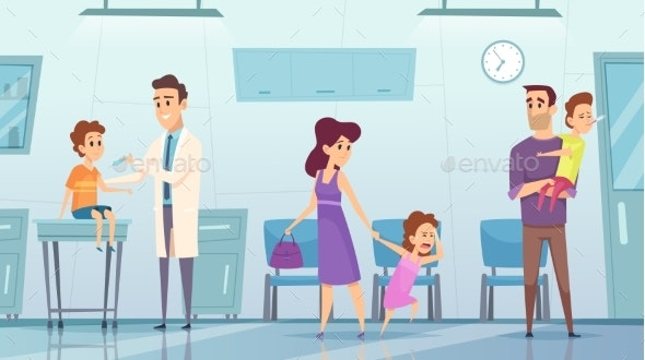 Vaccination in Clinic - People Characters