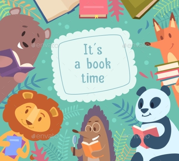Animals Reading Books - Animals Characters