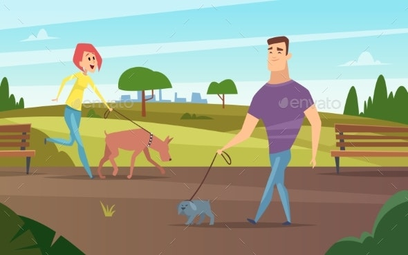 Pets Walking - People Characters