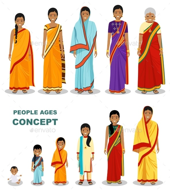East People Generations at Different Ages Isolated - People Characters