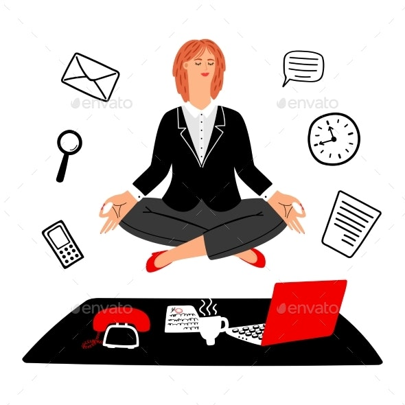 Work Meditation Vector Concept - Concepts Business