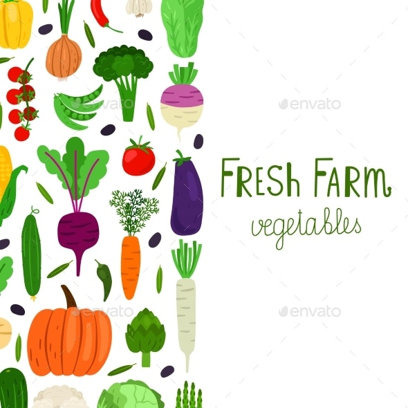 Hand Drawn Cartoon Vegetables Vector Banner - Food Objects