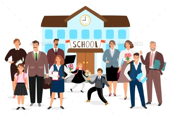 School Building Teachers and Students Vector - People Characters