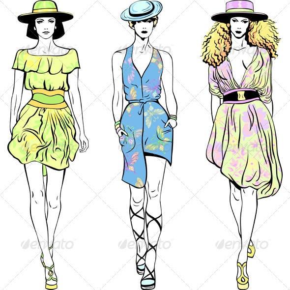 Vector Set Fashion Top Models in Summer Dresses