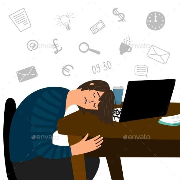 Tired Girl Fell Asleep at the Office Table Vector - People Characters
