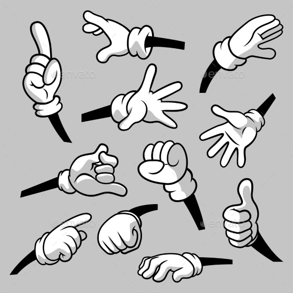 Cartoon Hands with Gloves Icon Set Isolated - Miscellaneous Vectors