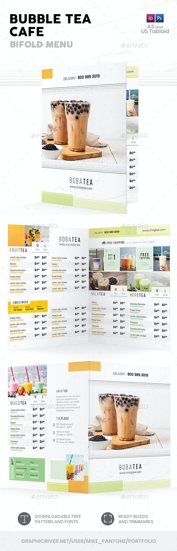 Bubble Tea Bifold / Halffold Menu 4 - Food Menus Print Templates