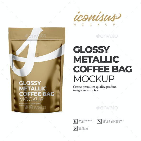Glossy Metallic Coffee Bag Mockup Template