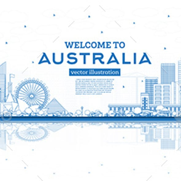 Outline Welcome to Australia Skyline with Blue Buildings and Reflections.