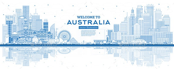 Outline Welcome to Australia Skyline with Blue Buildings and Reflections. - Buildings Objects