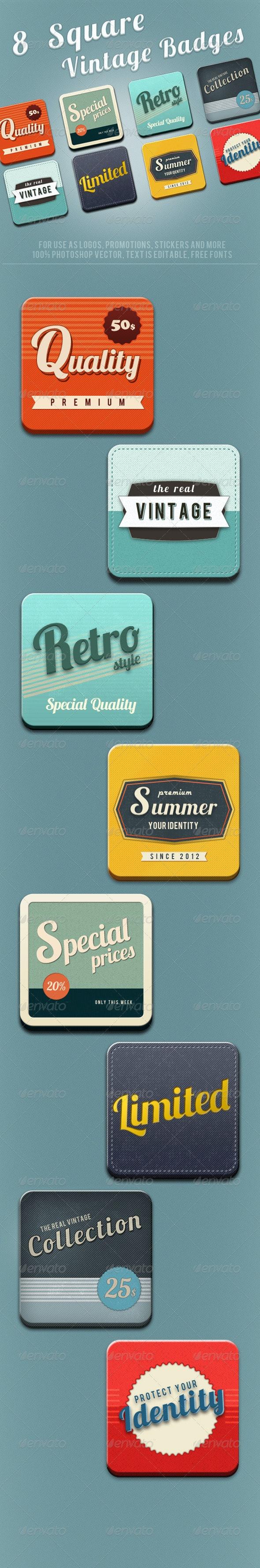 8 Square Vintage Badges  - Badges & Stickers Web Elements