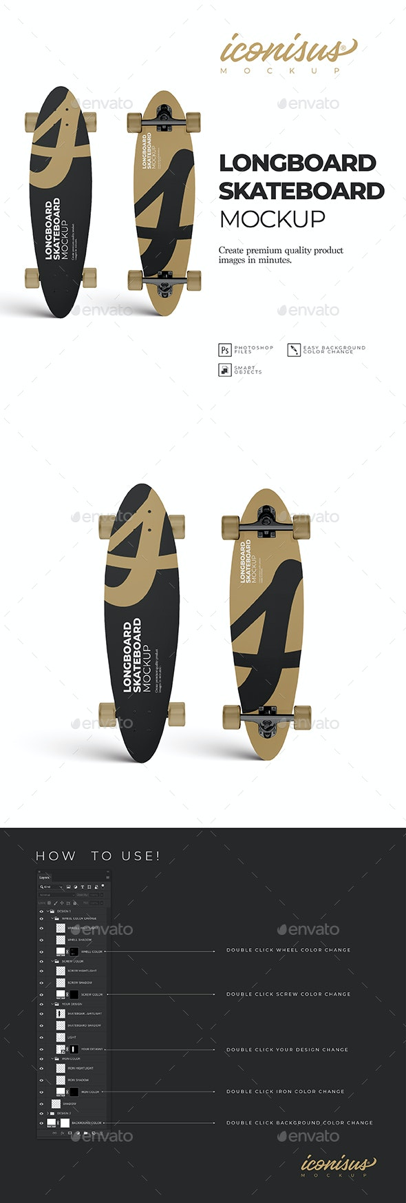 Longboard Skateboard Mockup Template - Product Mock-Ups Graphics