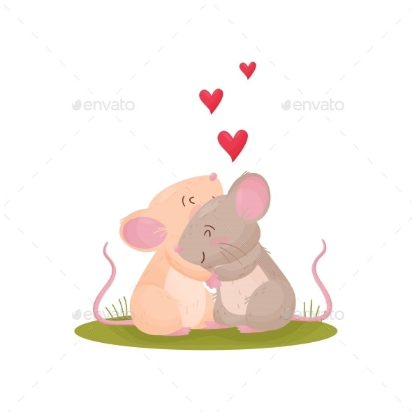 Pair of Cute Mice Hugging in a Meadow. Vector - Animals Characters
