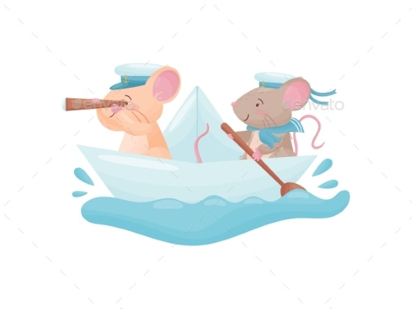 Pair of Mice Floating on a Paper Boat. Vector - Animals Characters