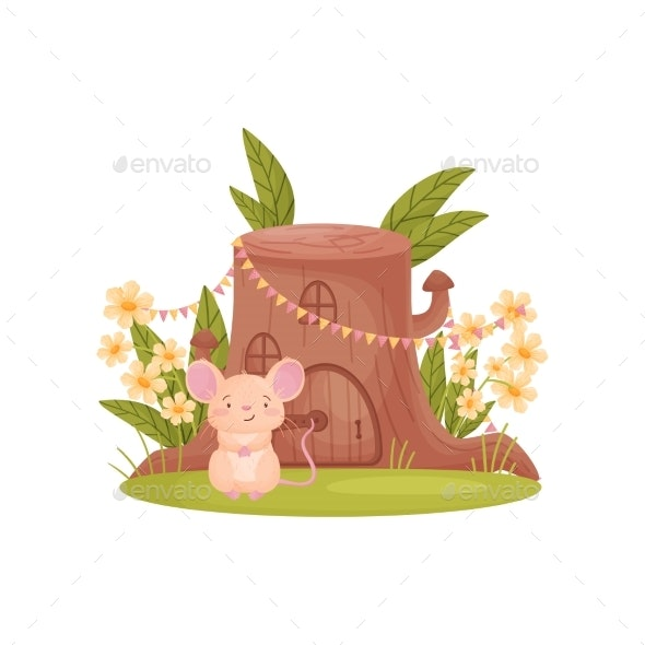 Mouse Sits Near His House - Animals Characters