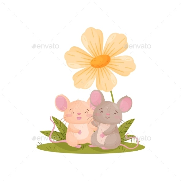 Two Mice Next To a Large Flower. Vector - Animals Characters