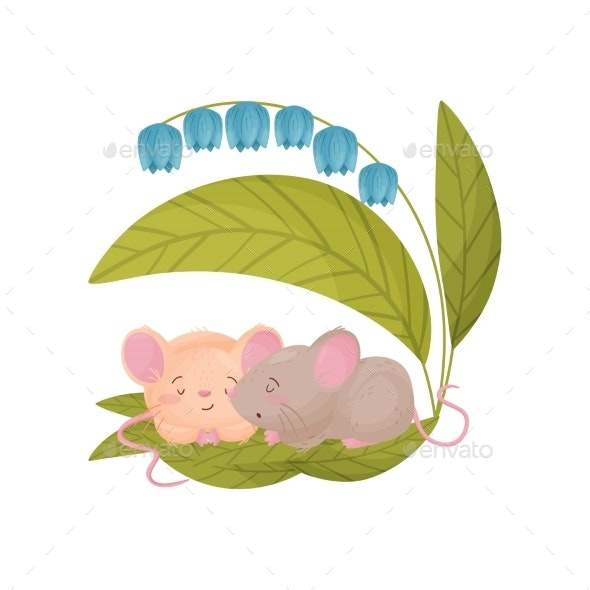 Two Mice Sleep Under a Blue Flower. Vector - Animals Characters
