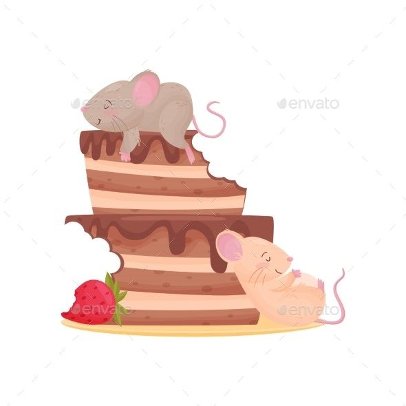 Two Mouse Overeat Chocolate Cake - Animals Characters