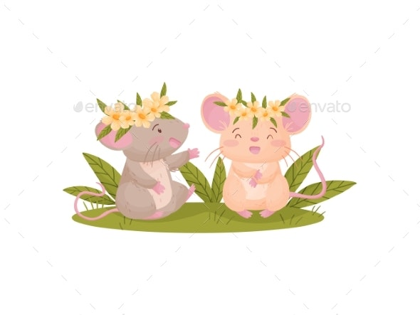 Two Humanized Mice in Flower Wreaths. Vector - Animals Characters