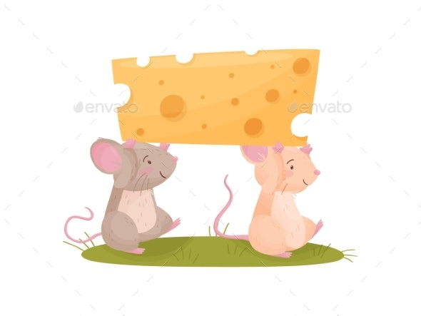 Two Mice Carry a Piece of Cheese. Vector - Animals Characters