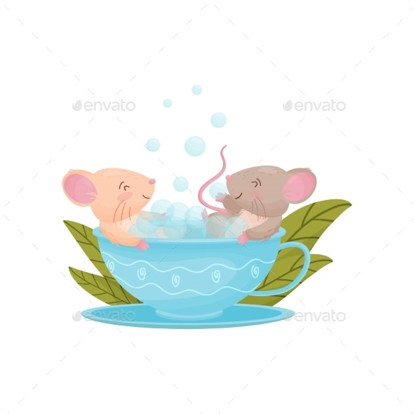 Two Mice Swimming in a Mug. Vector Illustration on - Animals Characters