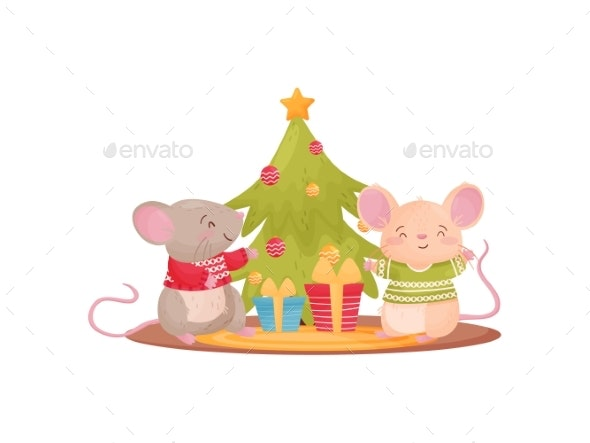 Two Humanized Mice Next To the Christmas Tree - Animals Characters