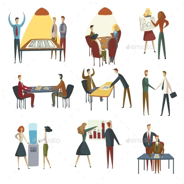 Set of Images of Office Workers. Vector - Business Conceptual