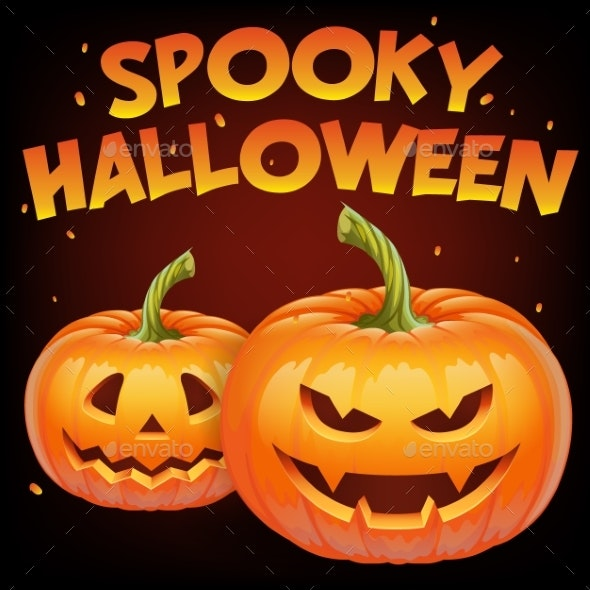 Spooky Halloween Banner with Halloween Pumpkin - Seasons/Holidays Conceptual