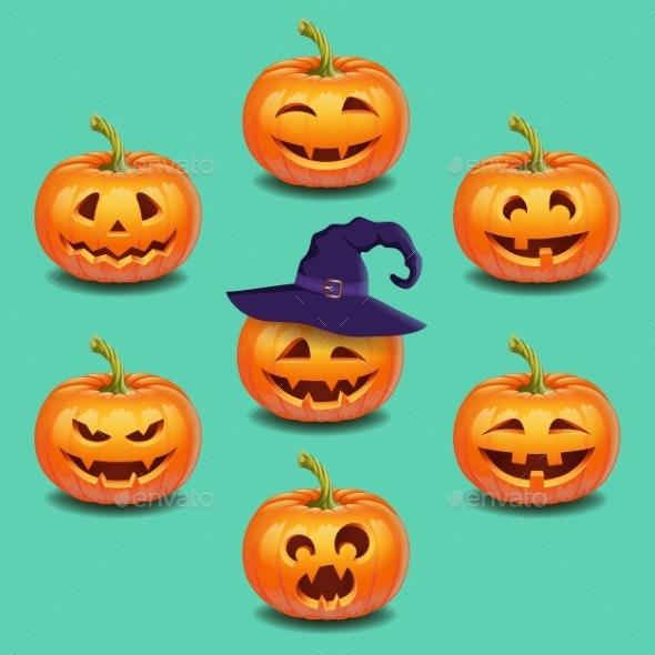 Set of Bright Colorful Halloween Pumpkins Face - Seasons/Holidays Conceptual
