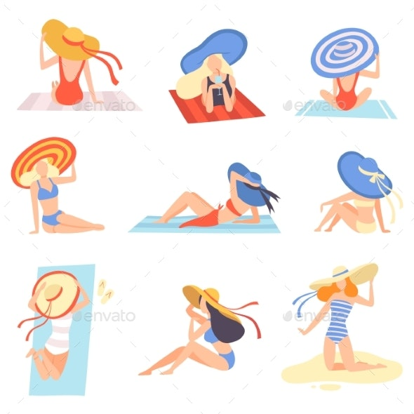 Girls in Swimsuits and Hats Sunbathing on Beach - People Characters