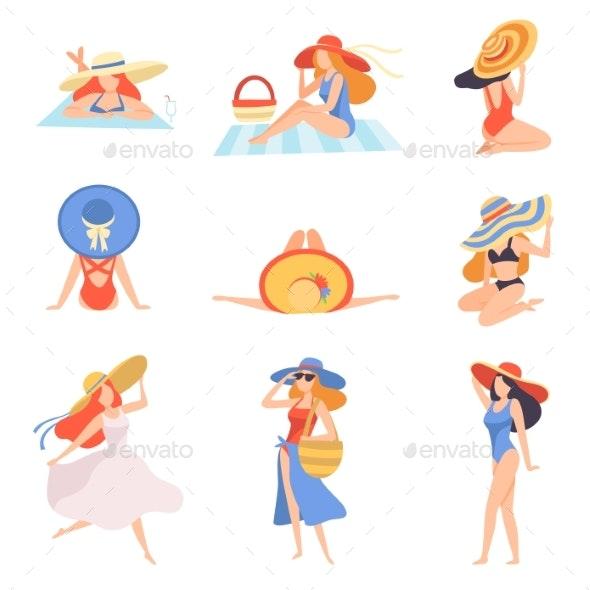 Girls in Swimwear and Hats Sunbathing on Beach - Miscellaneous Vectors