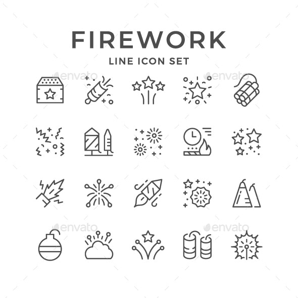 Set Line Icons of Firework - Man-made objects Objects