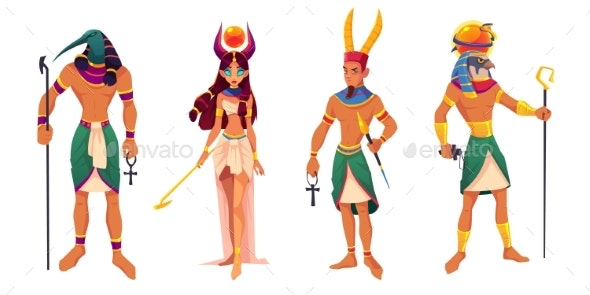 Egypt Gods Amun, Ra, Thoth, Hathor Ancient Deities - People Characters