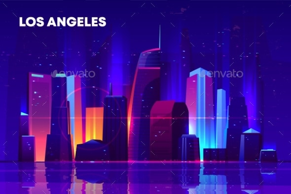 Los Angeles Night City with Neon Illumination. - Buildings Objects