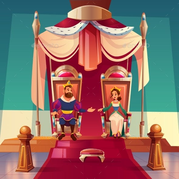 King and Queen Sitting on Thrones in Palace. Royal