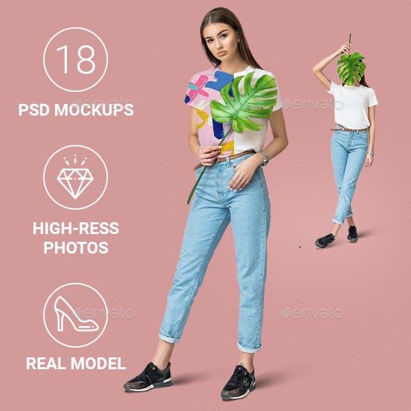 Female Minimalistic T-shirt Mockup Set