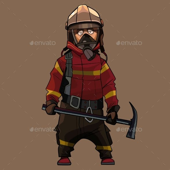 Cartoon Firefighter in Uniform with Pick in Hands