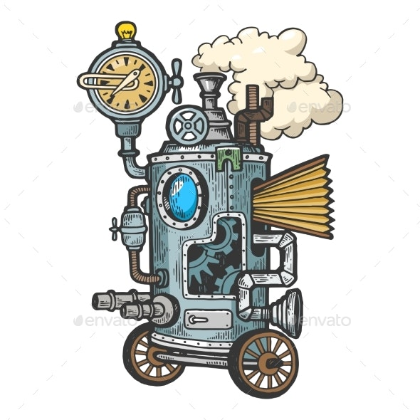Fantastic Steam Punk Machine Engraving Vector - Technology Conceptual