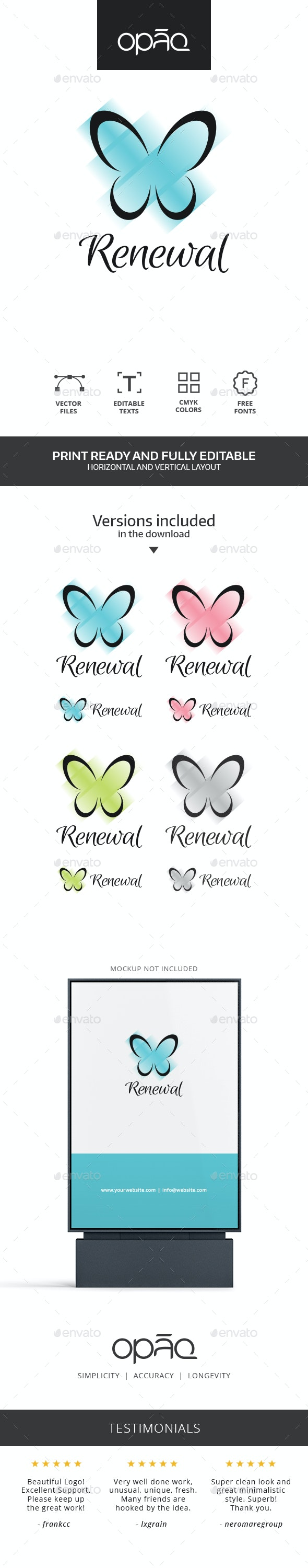 Butterfly Stripes Logo - Nature Logo Templates