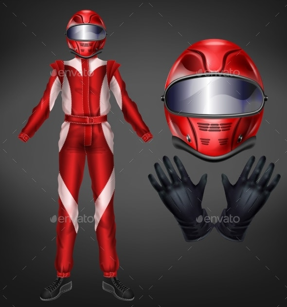 Racing Driver Suit Elements Realistic Vector Set - Man-made Objects Objects