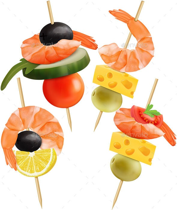 Set of Canape. Cheese, Tomatoes, Shrimp, Cucumber, Olive - Food Objects