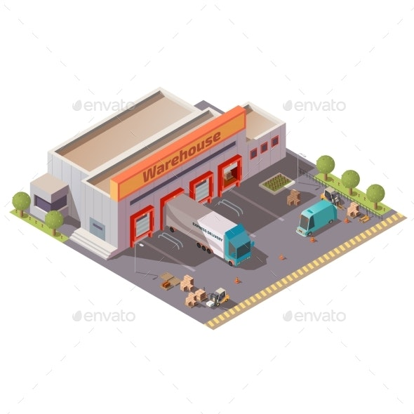 Express Delivery Service Warehouse Isomeric Vector - Buildings Objects