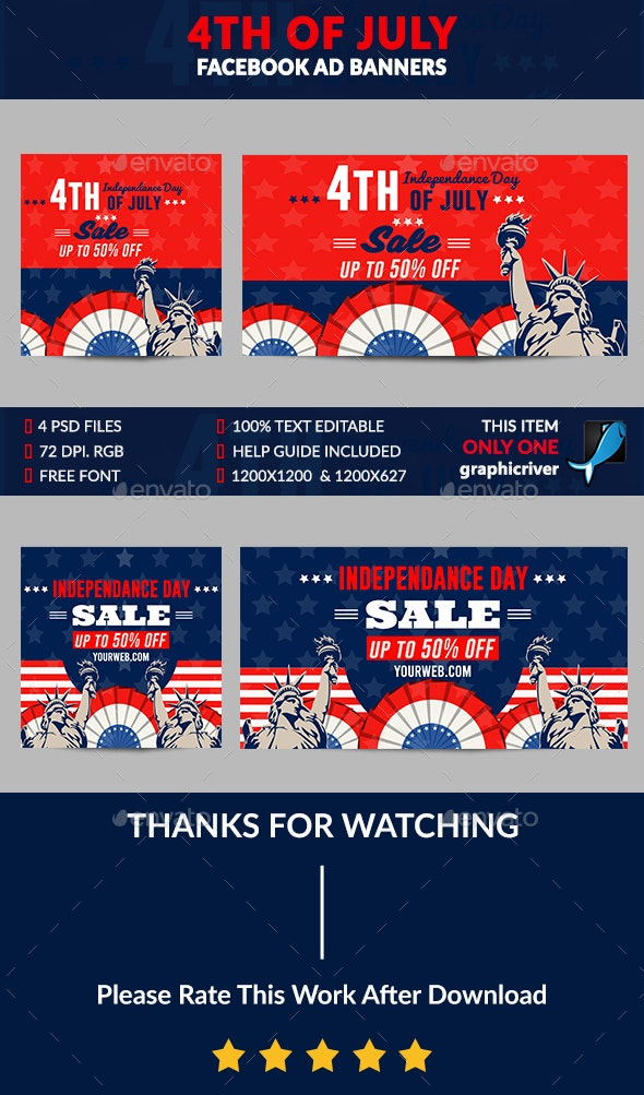 4th of July Facebook Ad Banner-4 Desig - Banners & Ads Web Elements