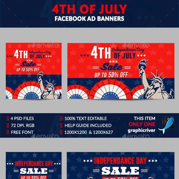 4th of July Facebook Ad Banner-4 Desig